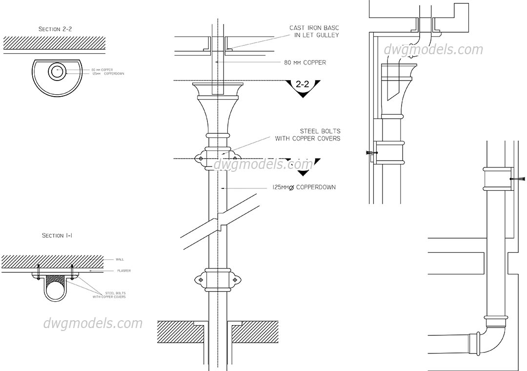 Drainpipe dwg, CAD Blocks, free download.