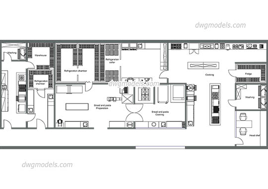 Kitchen of the restaurant dwg, cad file download free.