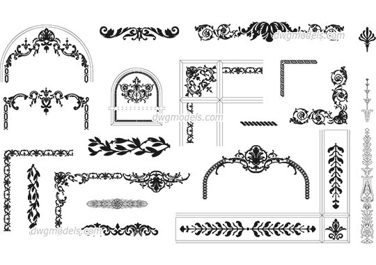 Floral and geometric patterns - DWG, CAD Block, drawing.