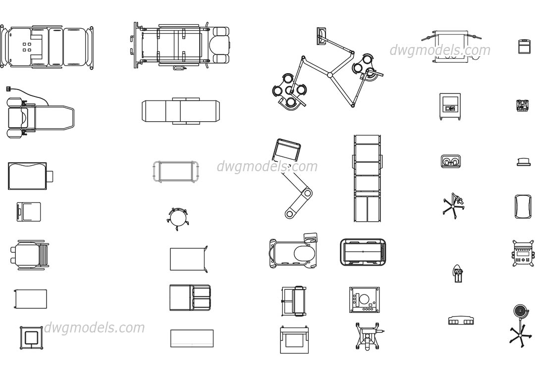 Medical equipment dwg, CAD Blocks, free download.