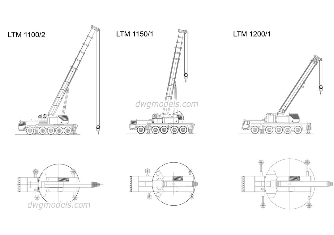 Cranes Liebherr dwg, CAD Blocks, free download.