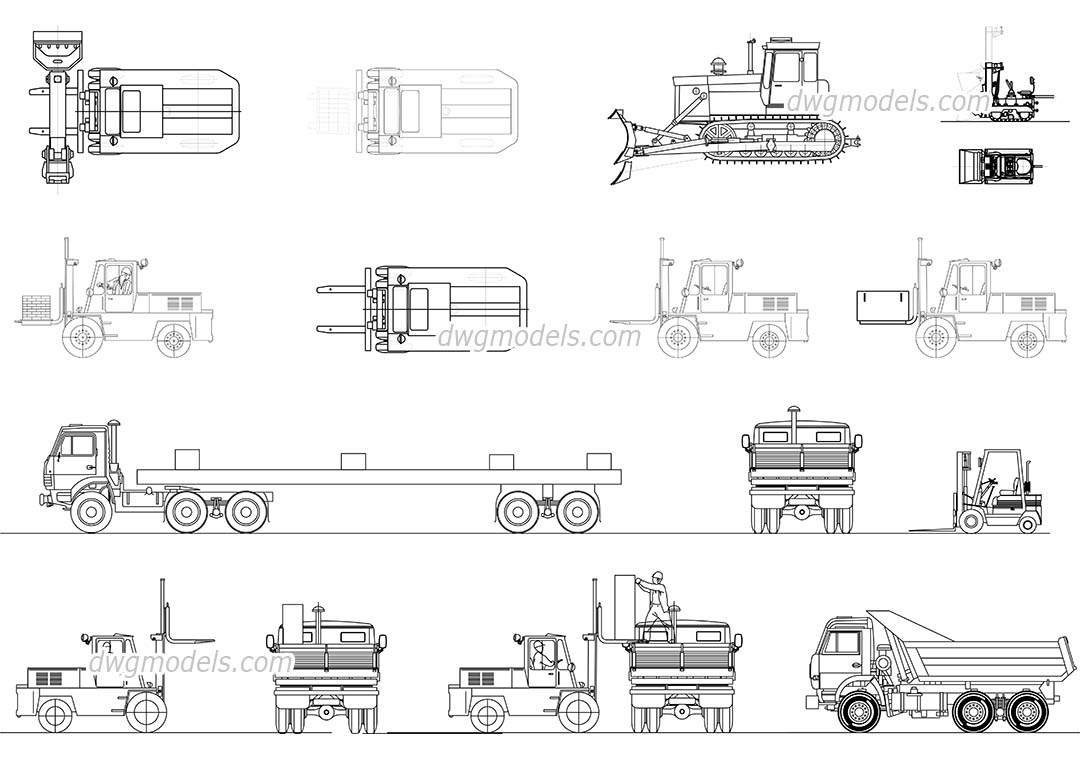 Construction transport dwg, CAD Blocks, free download.
