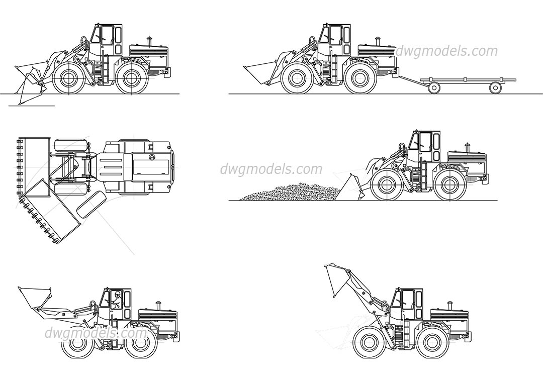 Construction machines dwg, CAD Blocks, free download.