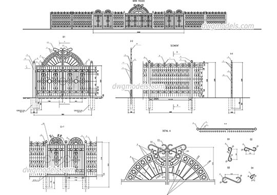 Street fences and gates dwg, cad file download free