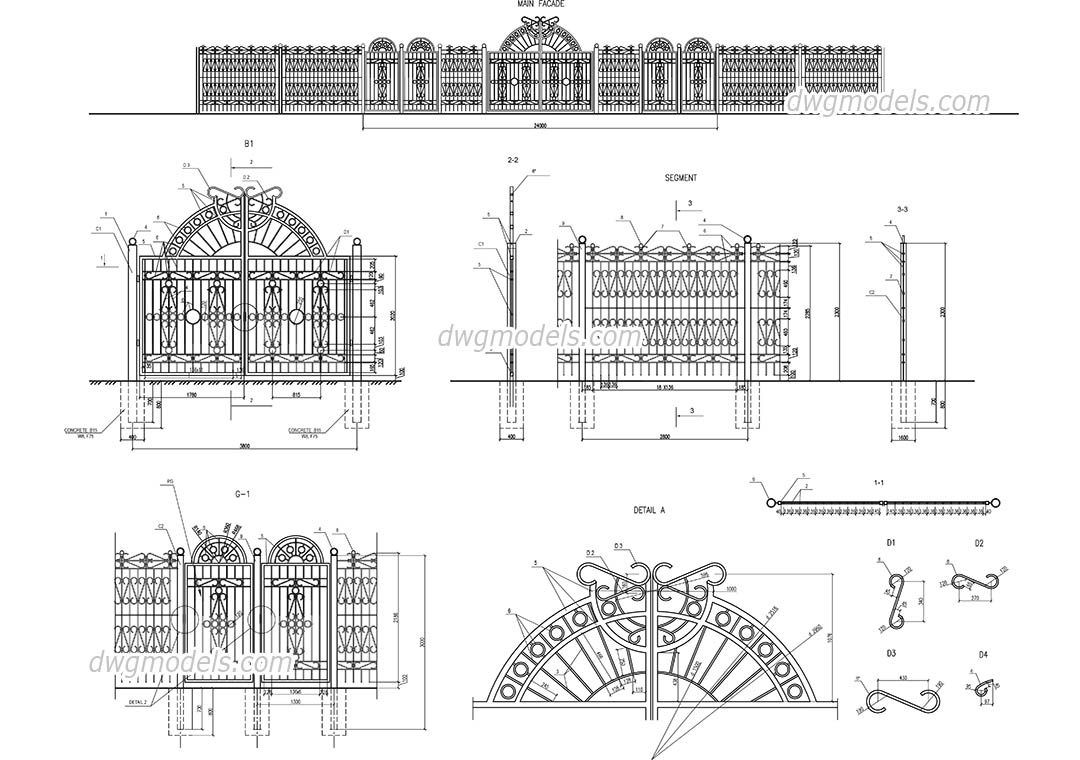 Street fences and gates dwg, CAD Blocks, free download.