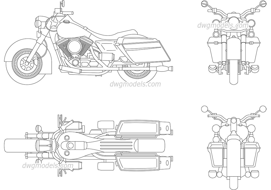 Harley Davidson dwg, CAD Blocks, free download.