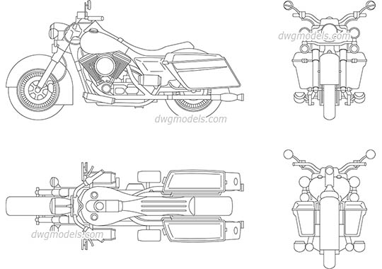 Harley Davidson - DWG, CAD Block, drawing.