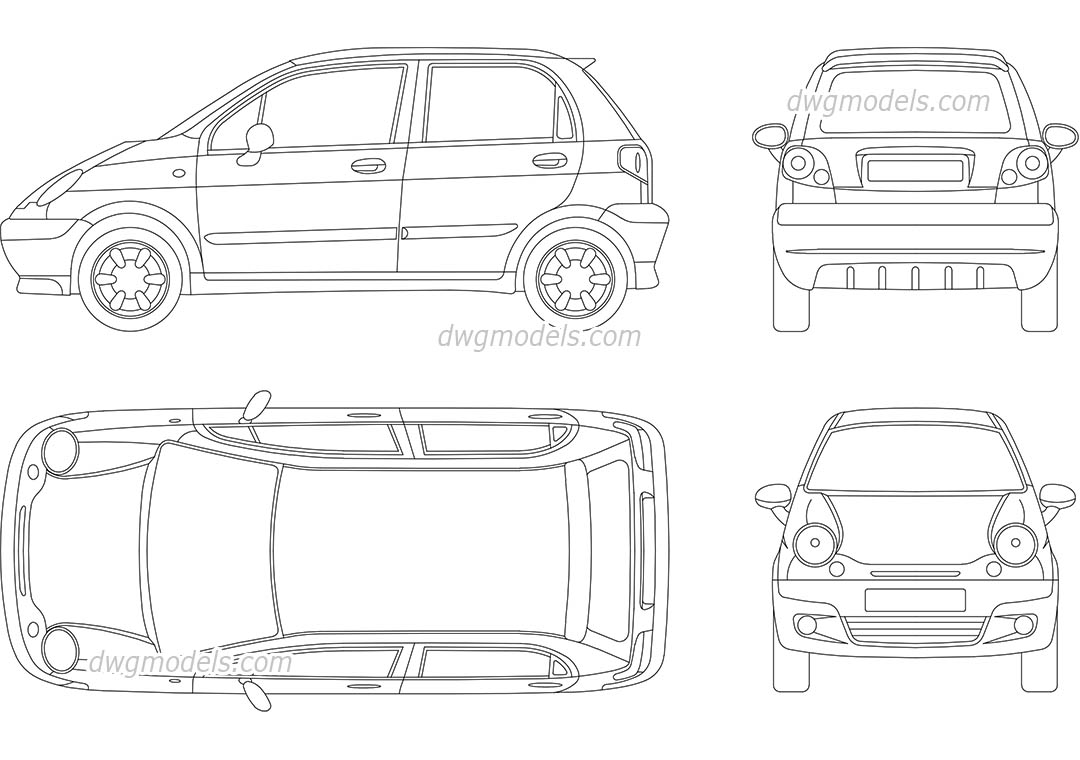 Daewoo Matiz dwg, CAD Blocks, free download.