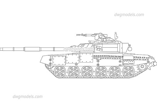 Tank T-90 dwg, cad file download free