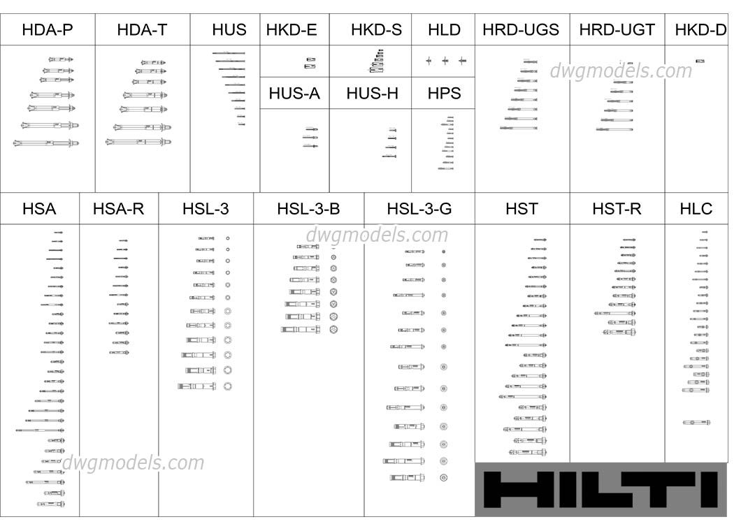 Anchors HILTI DWG, free CAD Blocks download