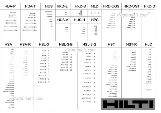 Anchors HILTI dwg, cad file download free
