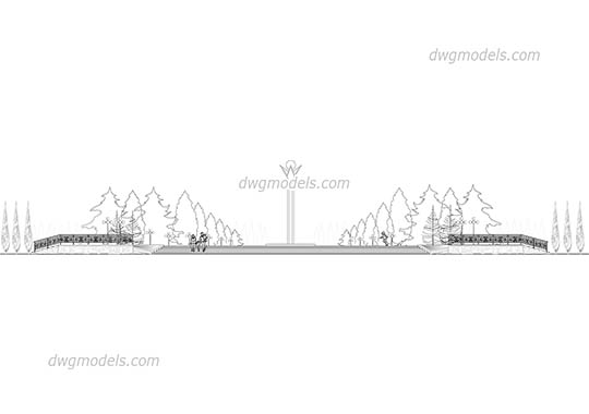 Park elevation - DWG, CAD Block, drawing.