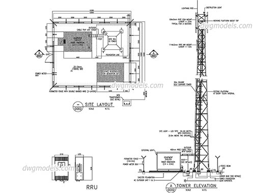 Telecommunication tower dwg, cad file download free.