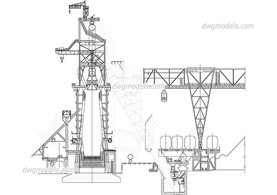 Blast furnace dwg, cad file download free.