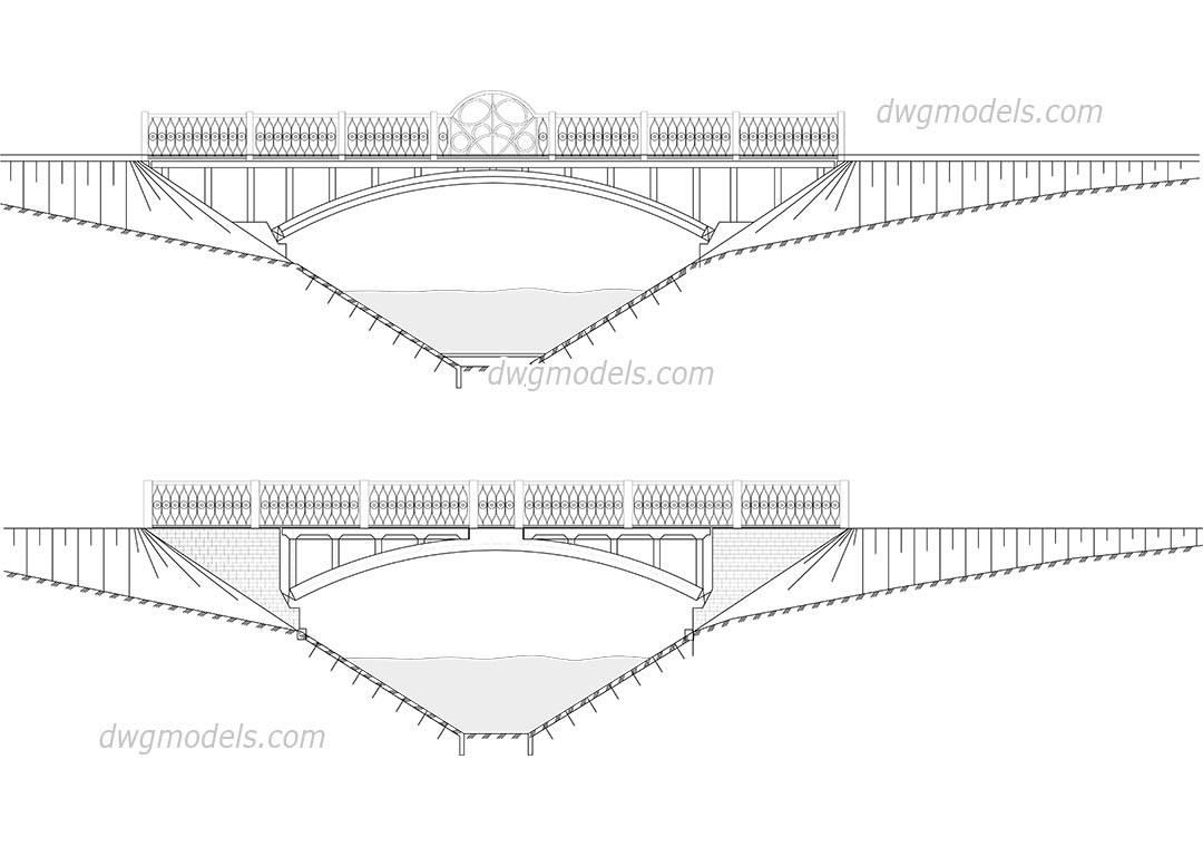 Bridge elevation view dwg, CAD Blocks, free download.