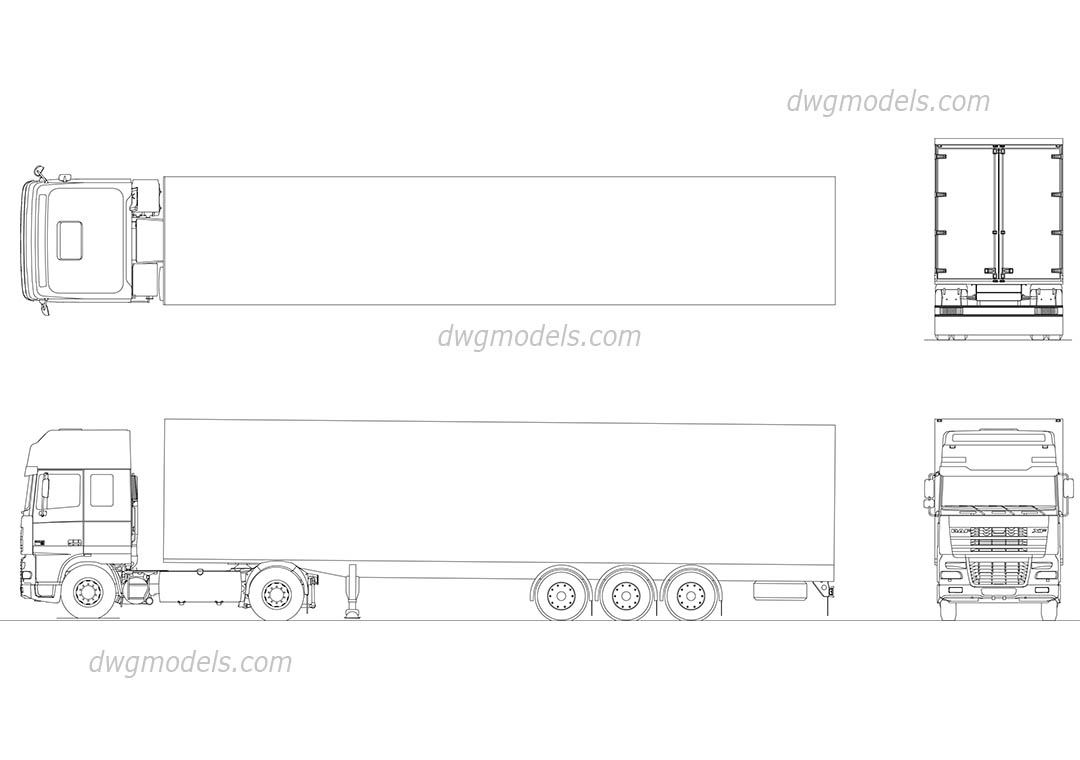 DAF XF 95 dwg, CAD Blocks, free download.