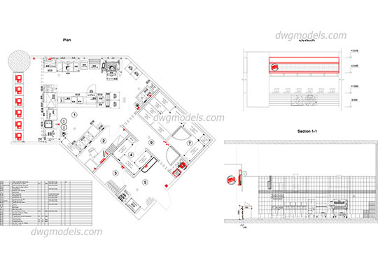 Kitchen of fast food - DWG, CAD Block, drawing.