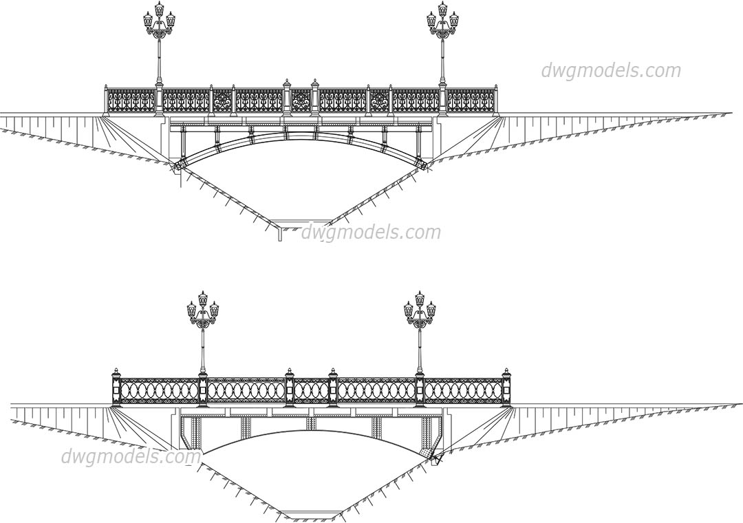 Bridge with street lights elevation dwg, CAD Blocks, free download.