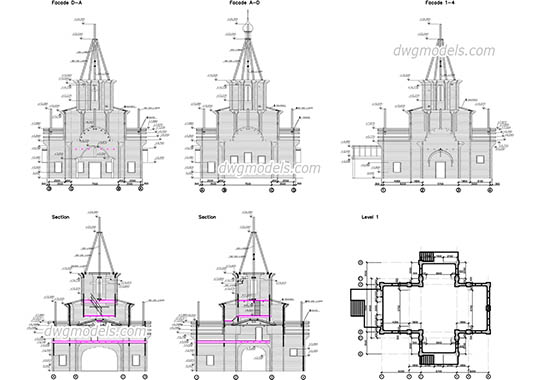 Wooden church dwg, cad file download free.