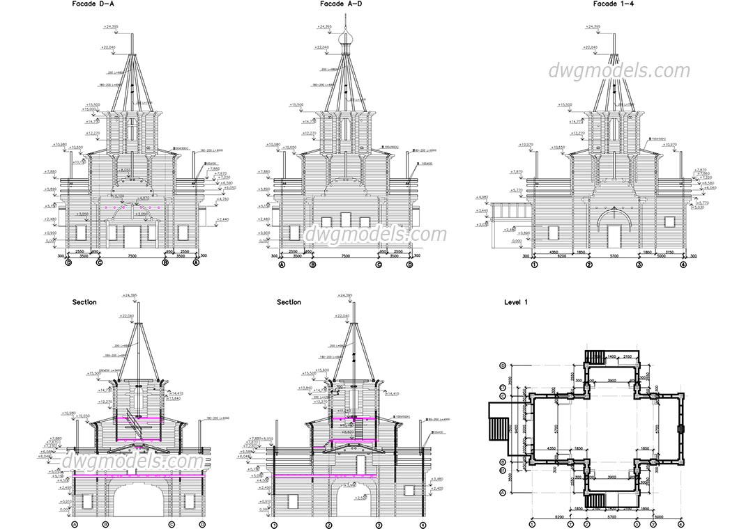 Wooden Church Dwg Free Cad Blocks Download