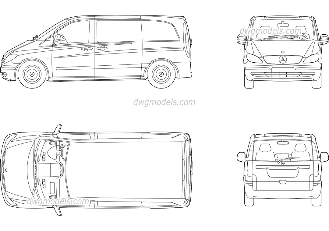 mercedes vito dwg  free cad blocks download