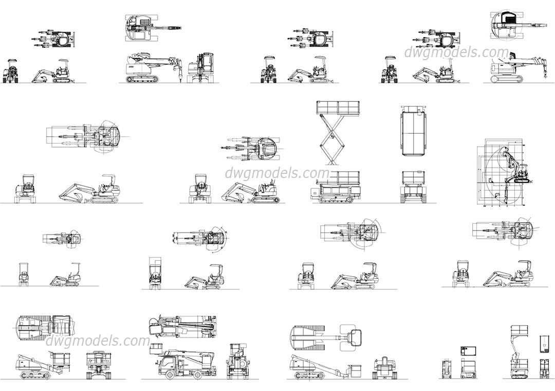 Japanese construction machinery dwg, CAD Blocks, free download.