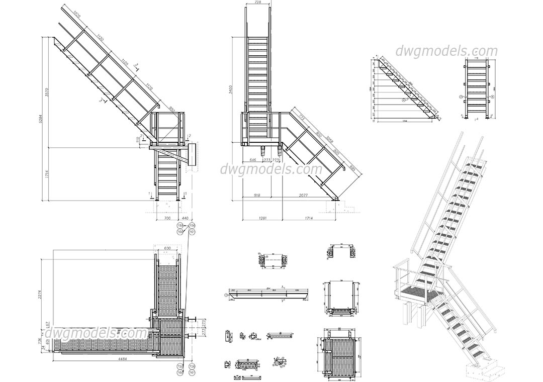 Metal stair dwg free cad blocks download for Online cad drawing