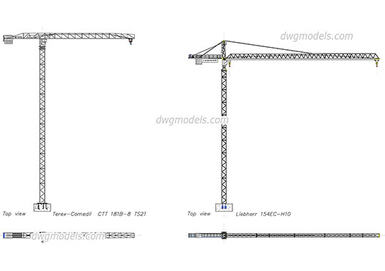 Tower Cranes - DWG, CAD Block, drawing.