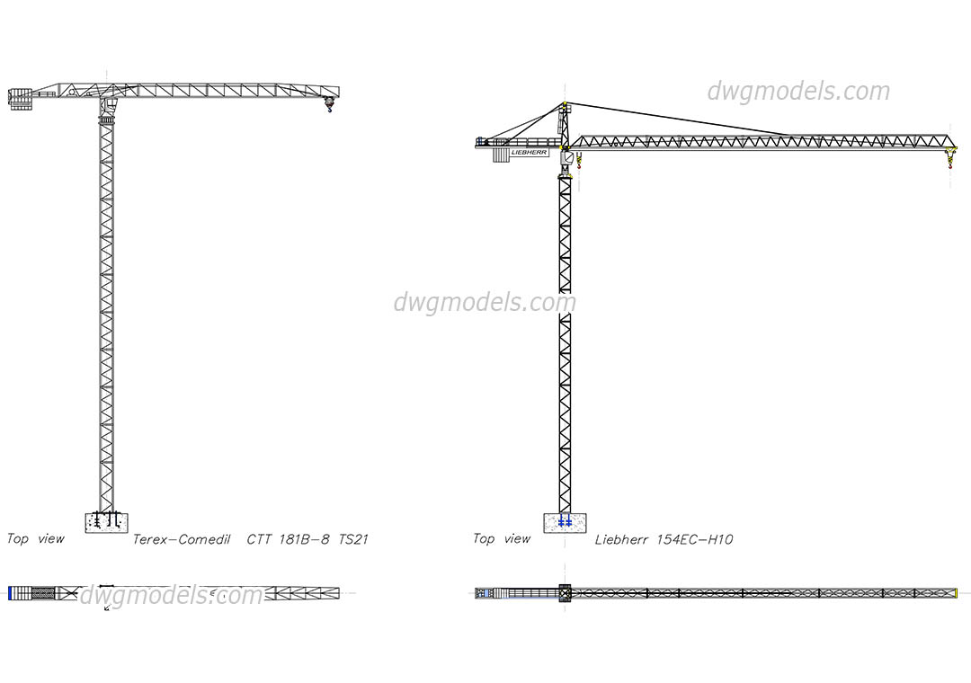 Tower Cranes dwg, CAD Blocks, free download.
