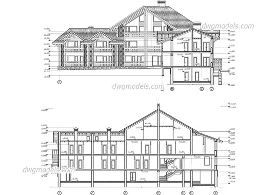 Wooden hotel dwg, cad file download free.