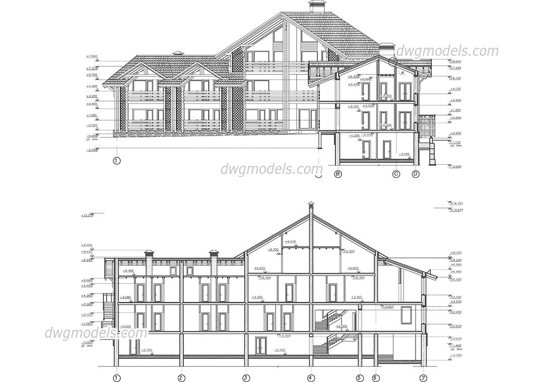 Wooden hotel dwg, CAD Blocks, free download.