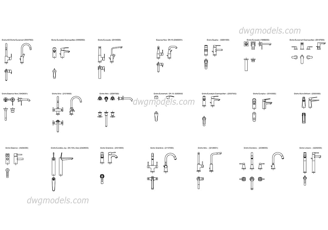 Grohe single lever basin mixer dwg, CAD Blocks, free download.