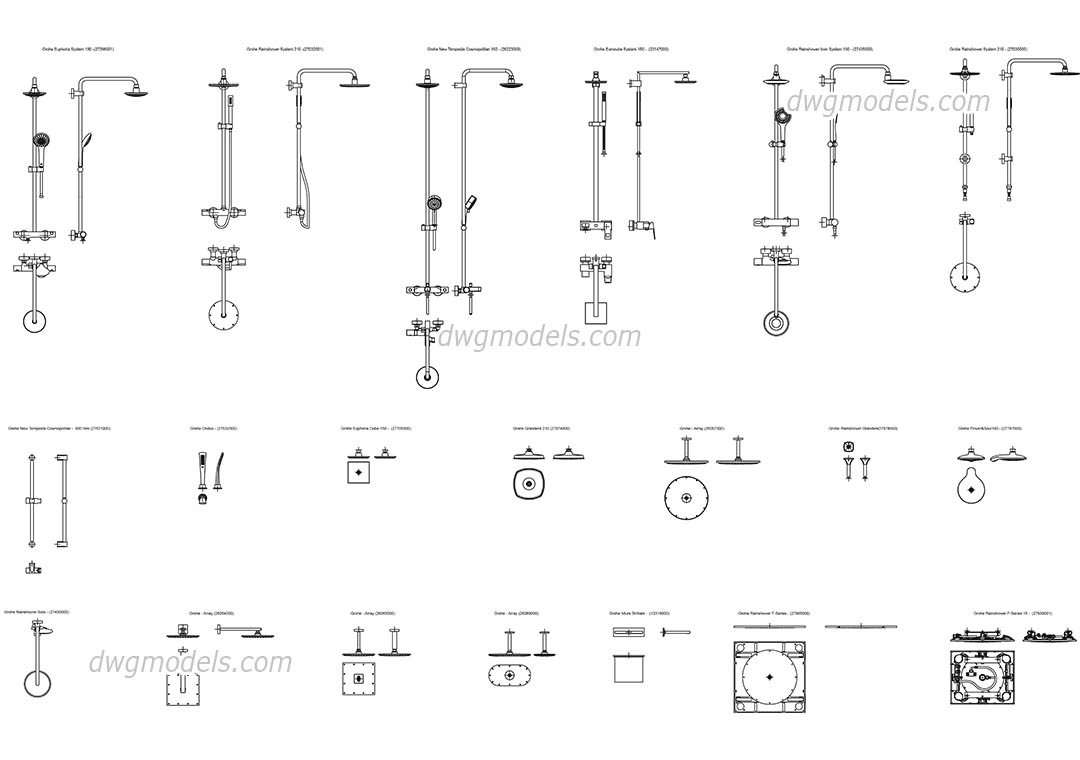 Grohe showers dwg, CAD Blocks, free download.