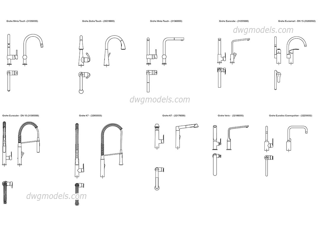 grohe kitchen faucets dwg free cad blocks download. Black Bedroom Furniture Sets. Home Design Ideas