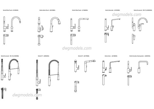 Grohe kitchen faucets dwg, cad file download free.