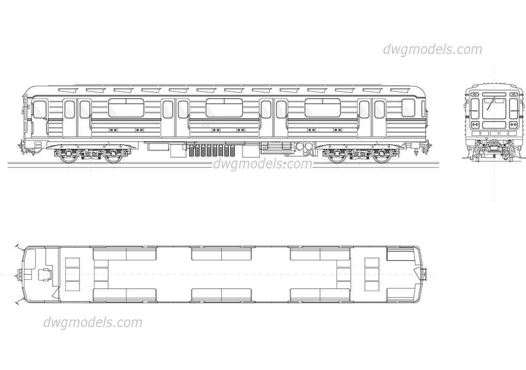 Metro carriage dwg, CAD Blocks, free download.