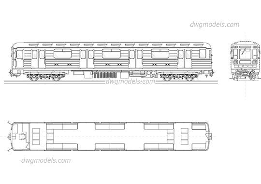 Metro carriage dwg, cad file download free.