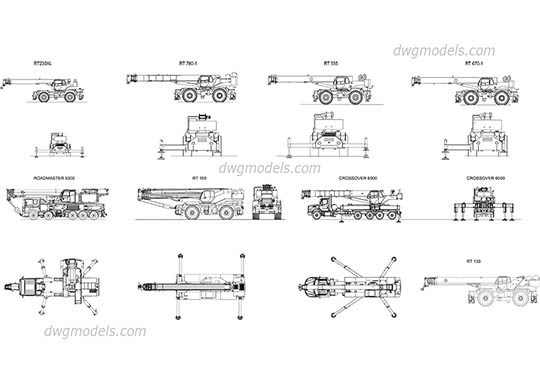 Cranes Terex all models dwg, cad file download free.