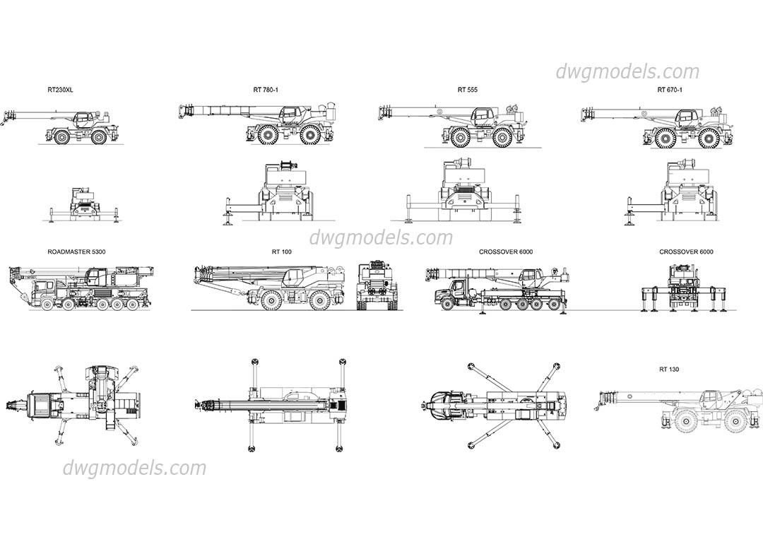Cranes Terex all models dwg, CAD Blocks, free download.