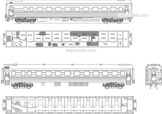 Passenger car dwg, cad file download free.