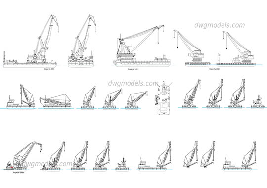 Floating cranes free dwg model