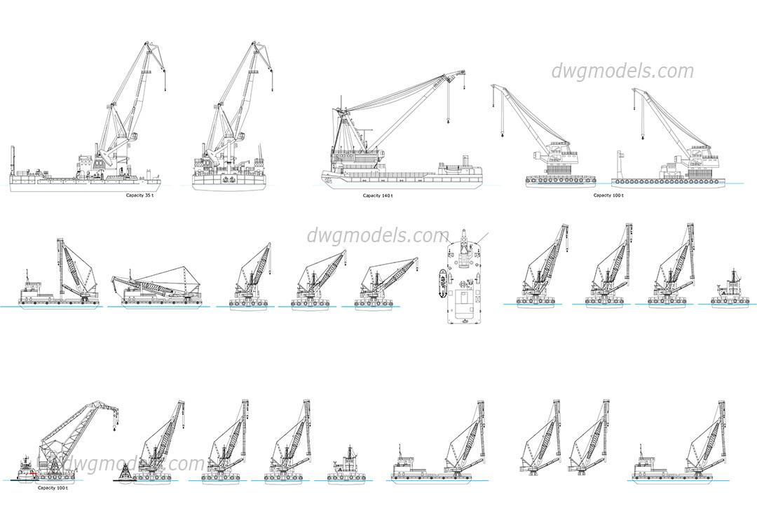 Floating Cranes Dwg Free Cad Blocks Download