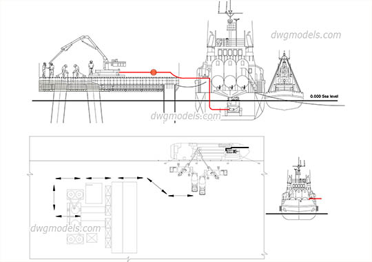 Concrete Mixing Plant on Vessel - DWG, CAD Block, drawing