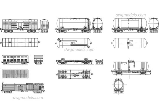Freight cars - DWG, CAD Block, drawing