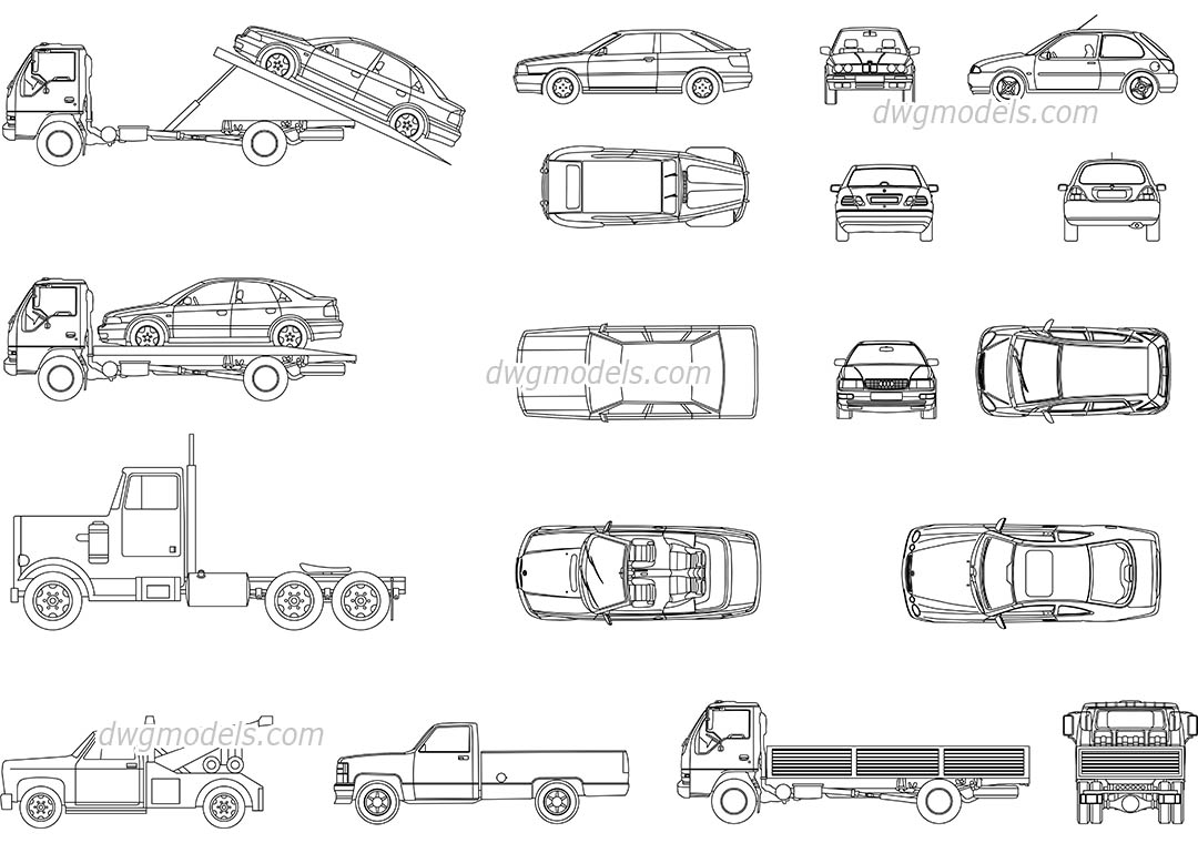 Set of cars dwg, CAD Blocks, free download.