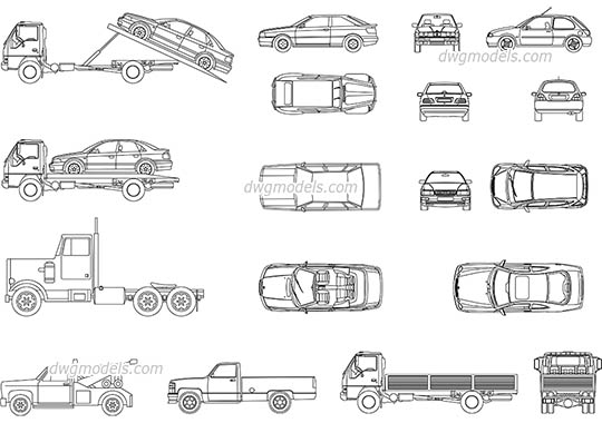 Set of cars dwg, cad file download free