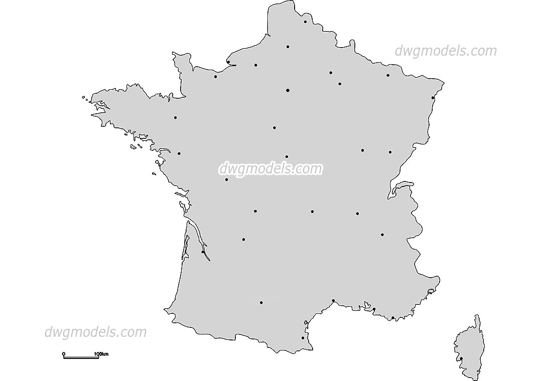 Map of France dwg, CAD Blocks, free download.