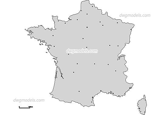 Map of France free dwg model