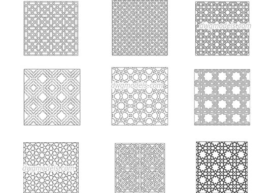 Islamic decorative patterns dwg, cad file download free