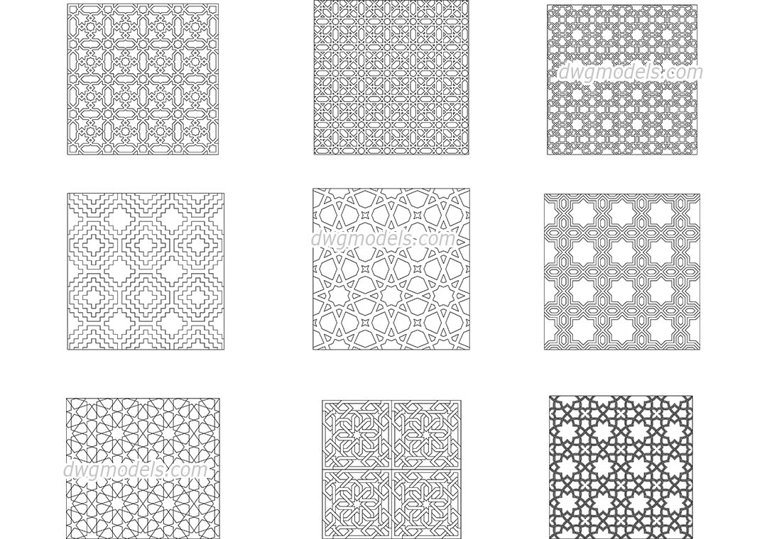 Islamic decorative patterns dwg free cad blocks download for Dwg templates free download